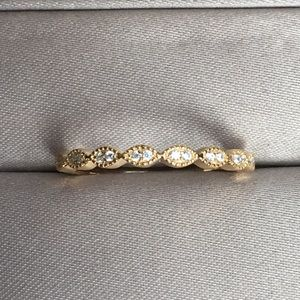 ❤️Gold Art Deco Wedding Band Stackable Pave Ring